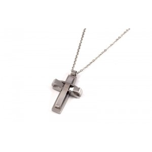 Ανδρικός ατσάλινος κλασικός σταυρός visetti απο ανοξείδωτο ατσάλι σε ασημί χρώμα