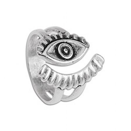 Δαχτυλίδι μάτι με βλεφαρίδες σε ασημί αντικέ
