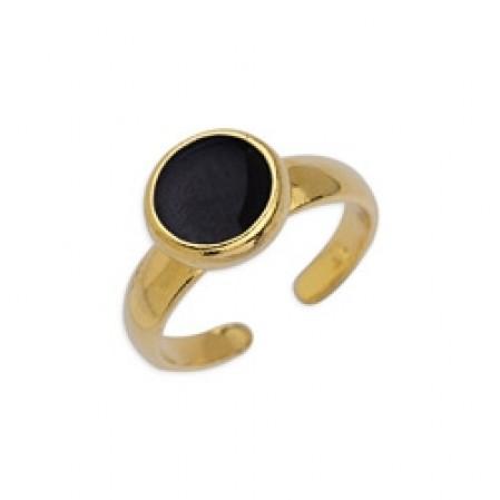 Δαχτυλίδι με καστόνι 8mm επίχρυσο με σμάλτο σε μαύρο χρώμα