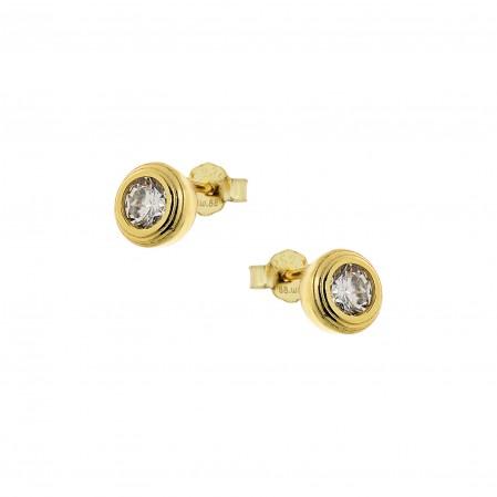 Μικρό,διακριτικό σκουλαρίκι καστόνι,5mm με λευκό ζιργκόν,από επιχρυσωμένο ασήμι 925