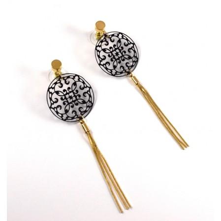 Μακρυά σκουλαρίκια της εταιρείας visetti από brass επίχρυσα & μαύρο διχτυωτό στρογγυλό στοιχείο