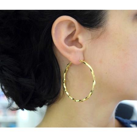Σκουλαρίκια στριφτοί κρίκοι της εταιρείας Visetti από Brass επίχρυσα