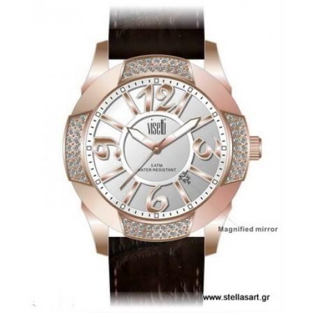 Γυναικείο ρολόι VISETTI απο ροζ χρυσό ανοξείδωτο ατσάλι ES-714RG