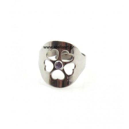 Ασημένιο δαχτυλίδι VISETTI chevalier με καρδούλες και με ένα μωβ ζιργκόν στο κέντρο