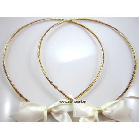 Επάργυρα χειροποίητα στέφανα γάμου με τριπλό στριφτό σύρμα το ένα είναι επίχρυσο το άλλο ασημί και το τρίτο σε ρόζ χρυσό