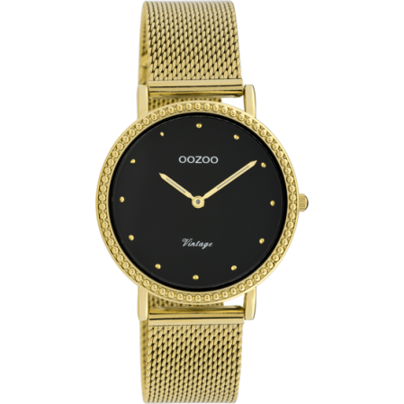 Γυναικείο ρολόι OOZOO VINTAGE σε μαυρο χρυσό χρώμα