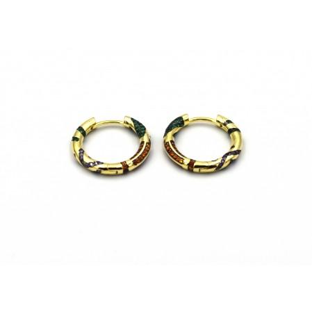 Ασημένια σκουλαρίκια 925 κρίκοι. Επιχρυσωμένα με πολύχρωμα ζιργκόν