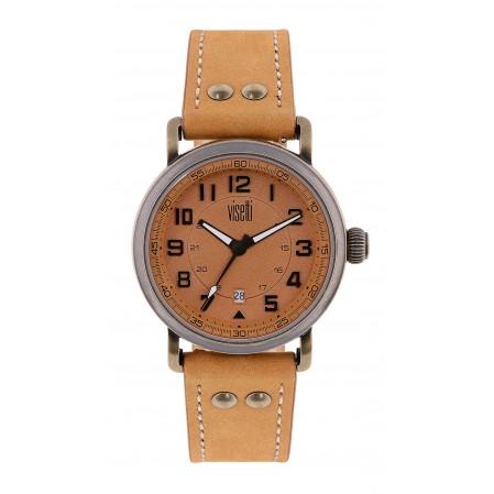 Ανδρικό ρολόι VESETTI London anderground με δερμάτινο λουράκι σε camel χρώμα